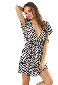V-neck Beach Dress - Zebra Printed