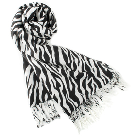Zebra Animal Print Pashmina Scarf, Large Sized