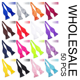 Wholesale Lot Of 50 Pcs Men's Formal Adjustable Self-Tie Bow Tie, Solid Color