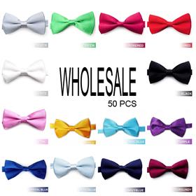 Wholesale Lot 50 Pcs Men's Formal Solid Color Satin Bow Tie