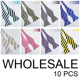 Wholesale Lot 10 Pcs Formal Stripe Self-Tie Bow Tie (Lots of Colors)