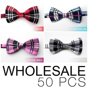 Wholesale Lot 50 Pcs Unisex Fashion Plaid Pretied Bow tie (Lots of Colors)