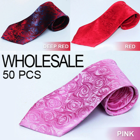Rose Pattern Standard Wedding Necktie, Wholesale 50 Pcs Neck Ties