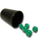 Brybelly 5 Green 16mm Dice with Synthetic Leather Cup