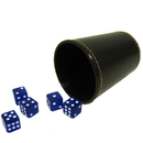 Brybelly 5 Blue 16mm Dice with Synthetic Leather Cup