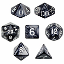 Brybelly 7 Die Polyhedral Dice Set in Velvet Pouch - Smoke
