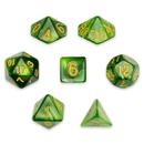 Brybelly 7 Die Polyhedral Set in Velvet Pouch, Jade Oil