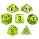 Brybelly 7 Die Polyhedral Set in Velvet Pouch, Swamp Ooze