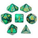 Brybelly 7 Die Polyhedral Set in Velvet Pouch, Basilisk Blood