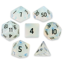 Brybelly Set of 7 Handmade Stone Polyhedral Dice, Opalite