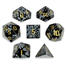 Brybelly Set of 7 Handmade Stone Polyhedral Dice, Snowflake Obsidian