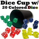 Brybelly Plastic Dice Cup with 20 Colored Dice