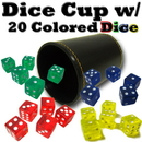 Brybelly Synthetic Leather Dice Cup with 20 Colored Dice