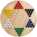 Brybelly All Natural Wood Chinese Checkers with Wooden Marbles