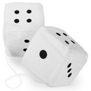 Brybelly Pair of White 3in Hanging Fuzzy Dice