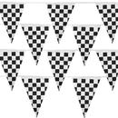 Brybelly Black & White Checker 100 Foot Pennant Stringer w/48 Flags