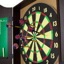 Brybelly Walnut Dartboard Cabinet Set with 6 Brass Darts and Board