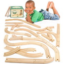 Brybelly 56 Pcs of Wooden Train Track Compatible w/All Major Brands