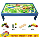 Brybelly Conductor Carl 80 Piece Wooden Train Set with Table