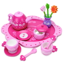 Brybelly Wood Eats! Pink Blossoms Tea Set for Two