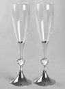 Beverly Clark Silver Stem w/Crystal Hearts Toasting Flutes