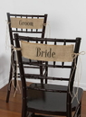 Ivy Lane Design Bride and Groom Burlap Chair Sashes