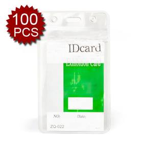 Officeship Badge Holders, Vertical, 2-3/8 x 4-3/8, Clear, 100 Pcs, Business ID Badge Card Holder