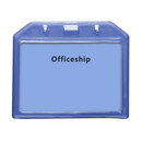 Officeship Plastic Horizontal Name Tag Badge Holder with Slot and Chain Holes, Clear, 50Pcs