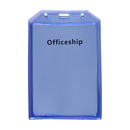 Officeship Plastic Vertical Name Tag Badge Holder with Slot and Chain Holes, Clear, 50Pcs