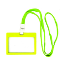 Officeship Frosted Color Frame Badge Holder with Cotton Lanyard, Horizontal, 3-3/8