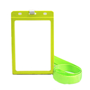 Officeship Flipped Color Frame Vertical Card Holder with Nylon Lanyard, Frosted, 3x4-1/8
