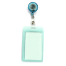 Officeship Flipped Vertical Card Holder with Retractable Badge Reel, Frosted Color Border, 2-1/8
