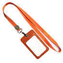 Officeship PU Leather 2-sided Card Loading Badge Case with Nylon Lanyard, Vertical, 2-1/8
