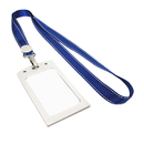 Officeship Magnesium Alloy 2-sided Badge Holder with Nylon Lanyard, Vertical, 2-1/8