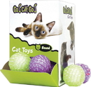 Our Pets Go Cat Go Chase, Rattle & Roll Cat Toy Display - Green & Purple - 2 Inch/24 Piece