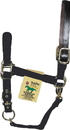 Hamilton Adjustable Horse Halter With Leather Headpole - Black - Yearling
