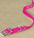 Hamilton Single Thick Nylon Dog Collar - Hot Pink - 5/8  X 16