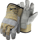 Boss Stallion Side Split Leather Palm Safety Cuff Glove - Gray/Yellow - Large