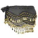 BellyLady Belly Dance Hip Scarf, Chiffon Dangling 158 Gold Coins Dance Skirt