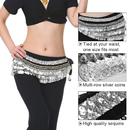 BellyLady Belly Dance Hip Scarf, Multi-Row Silver Coin Dance Skirt
