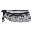 BellyLady Belly Dance Hip Scarf, Multi-Row Silver Coin Dance Skirt, Gift Idea