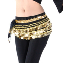 BellyLady Multi-Row Gold Coins Belly Dance Wrap & Hip Scarf, Belly Dancing Skirt