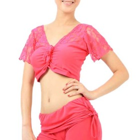 BellyLady Belly Dance / Yoga Tribal Short Sleeved Lace Workout Top