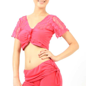 BellyLady Belly Dance/Yoga Short Sleeved Lace Workout Top - Rose Red - Small