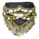BellyLady Belly Dance Hip Scarf, Gold Coins Belly Dance Costume Skirt Wrap Belt