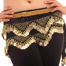 BellyLady Belly Dance Hip Scarf, Gold Coins 2-Row Velvet Belly Dance Skirt
