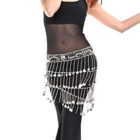 Bellyqueen Belly Dance Hip Scarf, Silver Coins In Rows Style