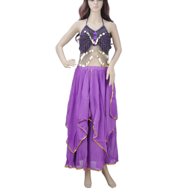 BellyLady Chiffon Belly Dance Costume, Halter Top And Full Circle Skirt Set