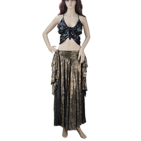 BellyLady Tribal Belly Dance Costume, Halter Top And Full Circle Skirt Set