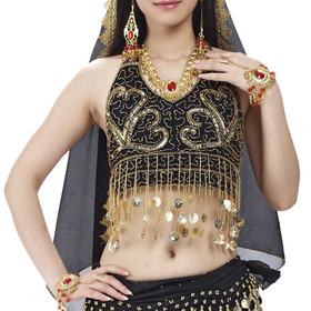 BellyLady Belly Dance Halter Bra Top With Coins And Fringe, Christmas Costume